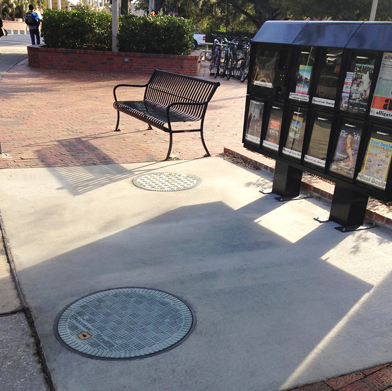 "New Fibrelite covers offer a ""Cool to Touch"" alternative to cast iron manholes in heavy foot traffic areas."