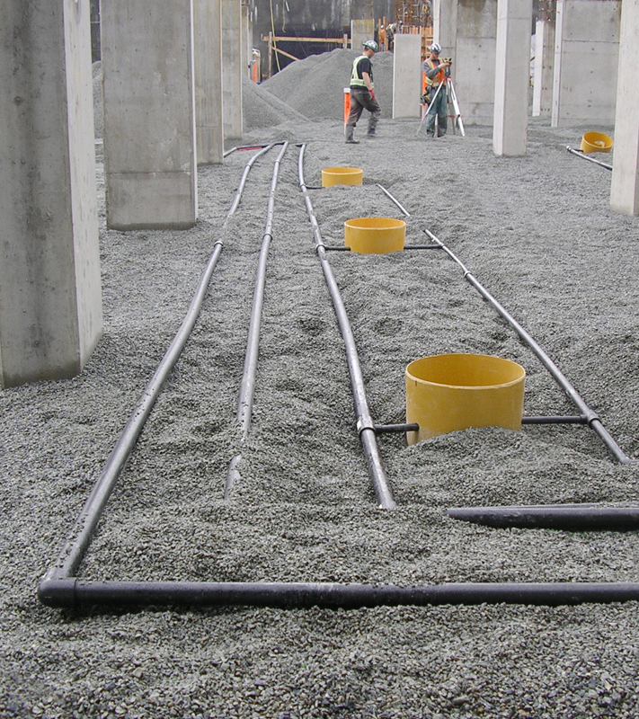 Network of pipes buried in the ground