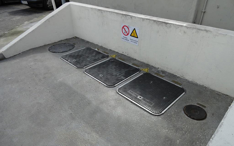 Recently upgraded site with Fibrelite's 600mm sq. 25 tonne load rated covers (FL60)