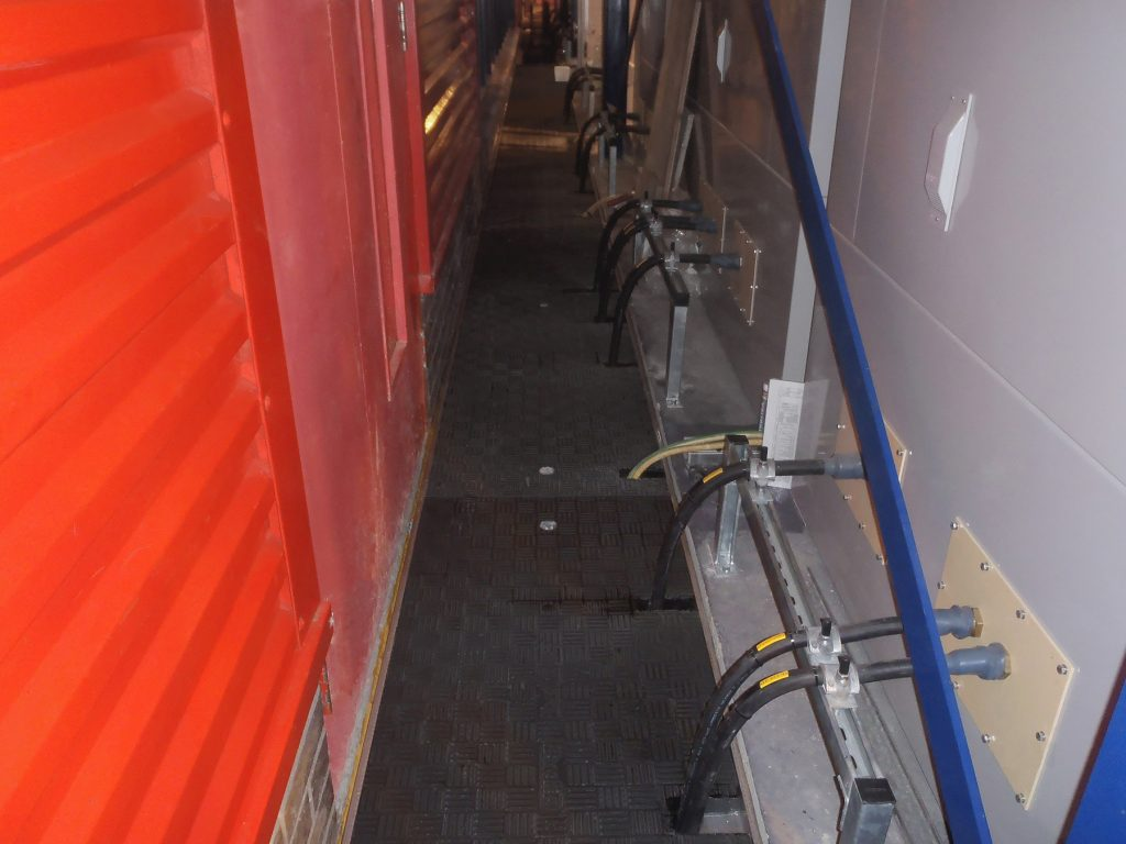 Trench panels cut and re-sealed on site allowing cables to run through
