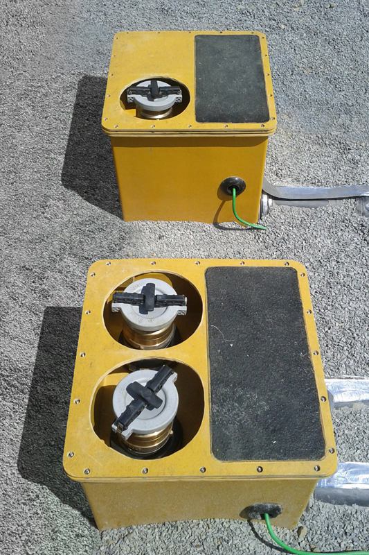 Secondarily contained Fibrelite remote fill sumps with anti-slip step down platforms