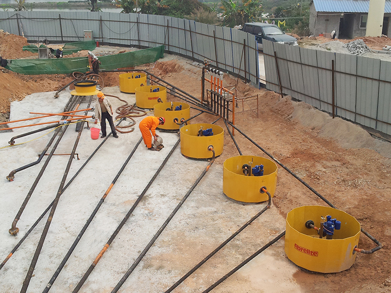 Fibrelite tank sumps (S14-390) being installed