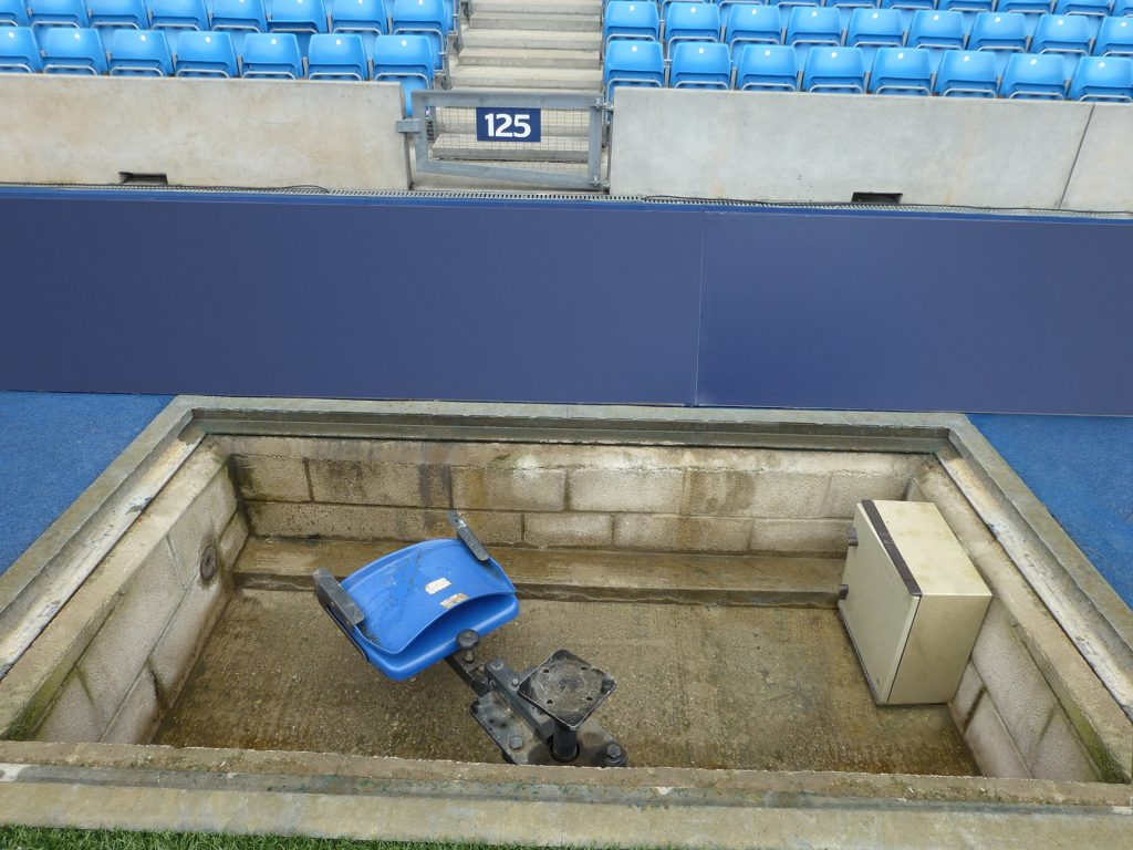 An existing camera pit to be covered by Fibrelite's composite trench covers