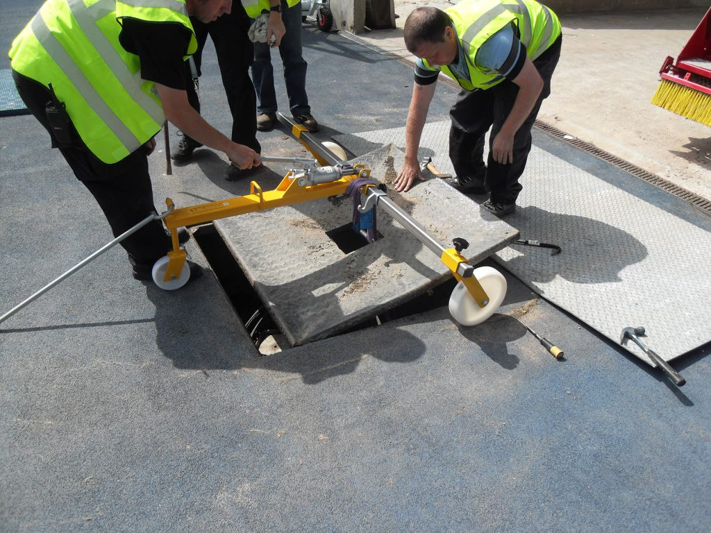 Manual handling: The previously installed damaged cover required a hydraulic lifter to remove the cover