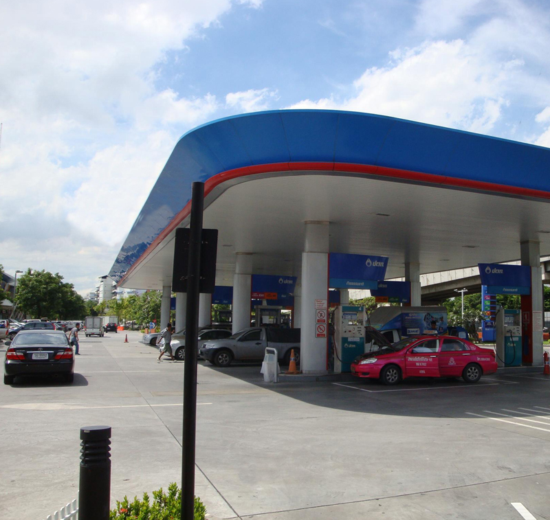 Thailand Petrol Forecourt and Green Area