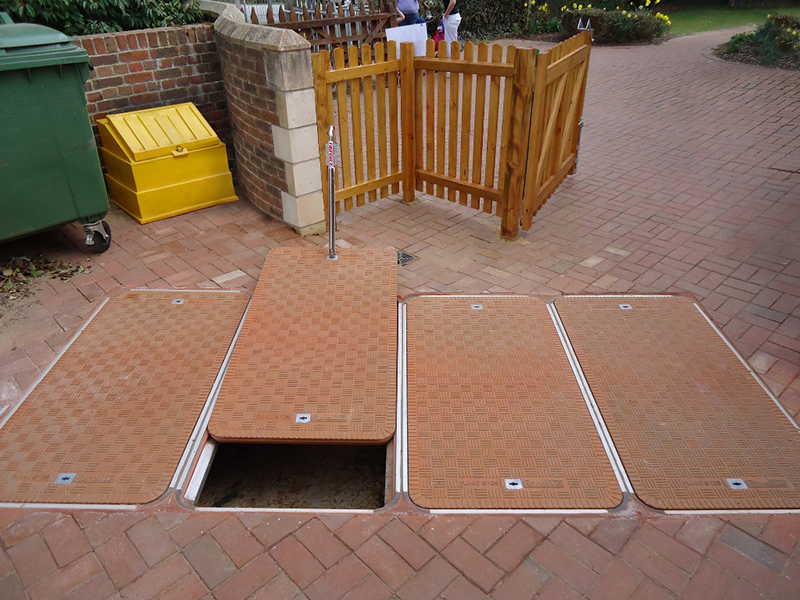 Newly installed Fibrelite flat sealed FL140 composite covers