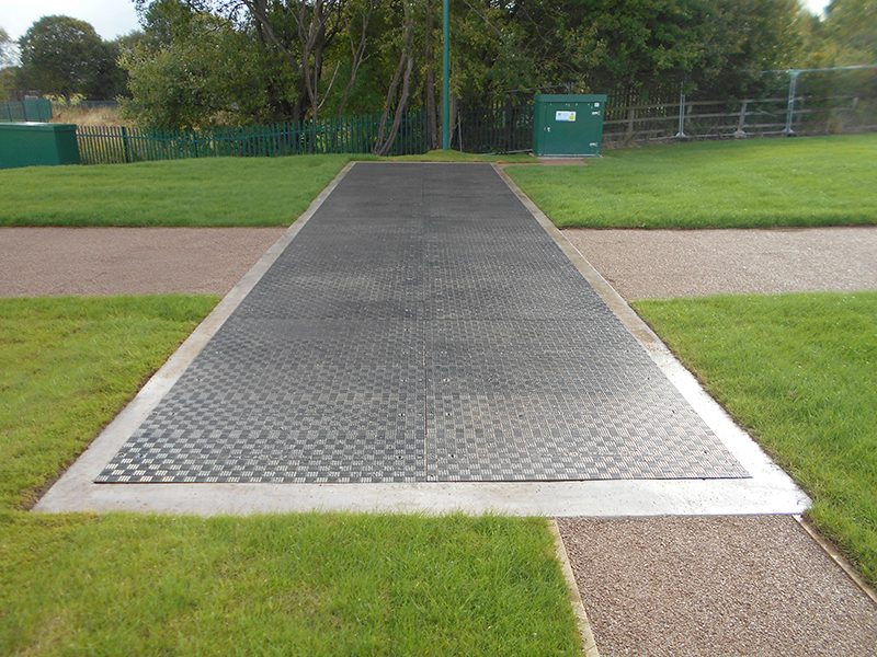 The Fibrelite B125 (12.5 tonne) load rated medium duty trench access covers installed
