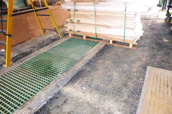 Previously installed GRP grating was originally supplied together with the precast concrete troughs