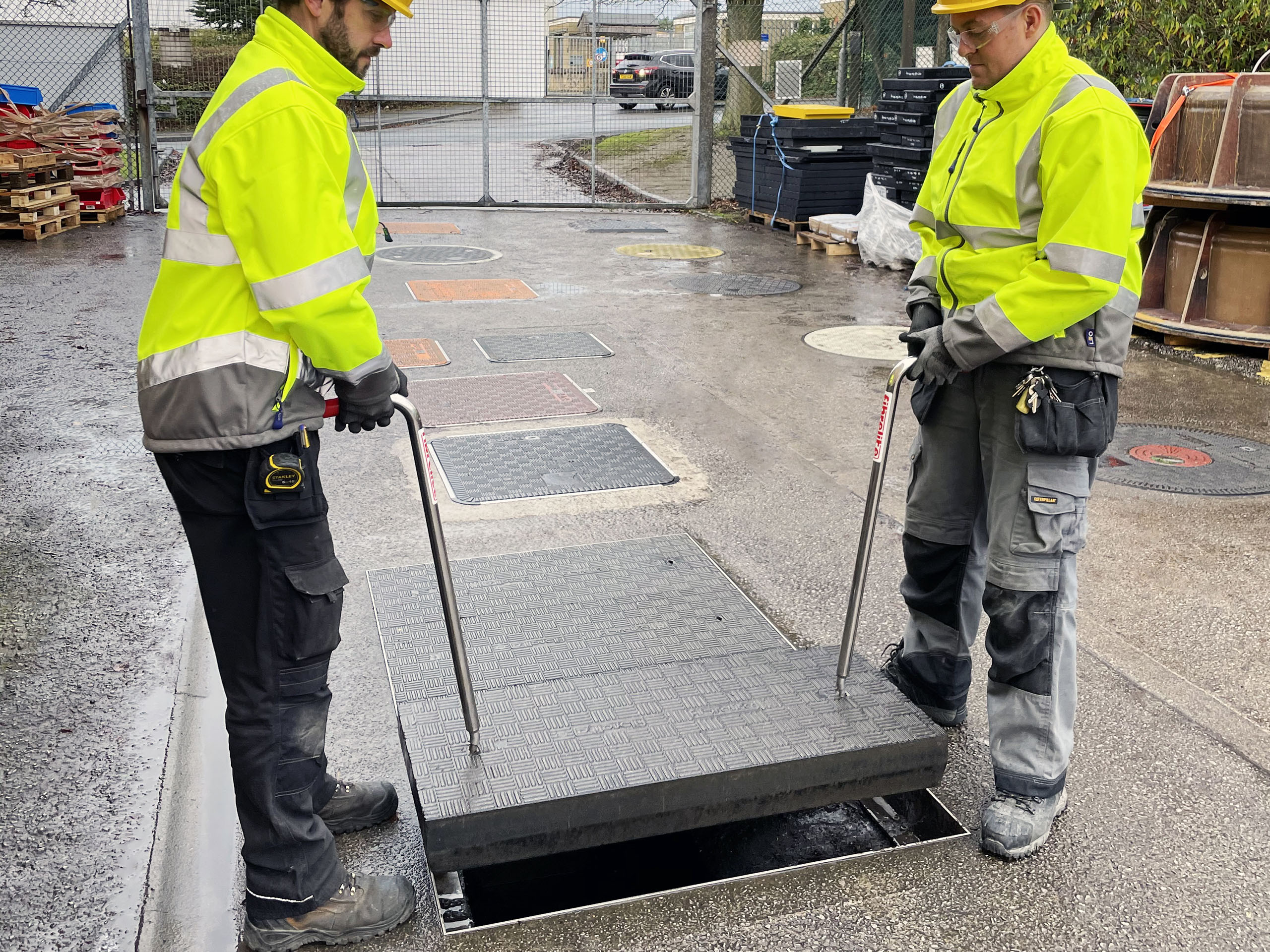 Fibrelite trough covers are designed to be safely and easily removed by two people